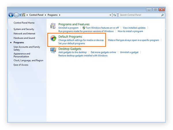 Accessing the Default Programs settings from the Control Panel of Windows 7