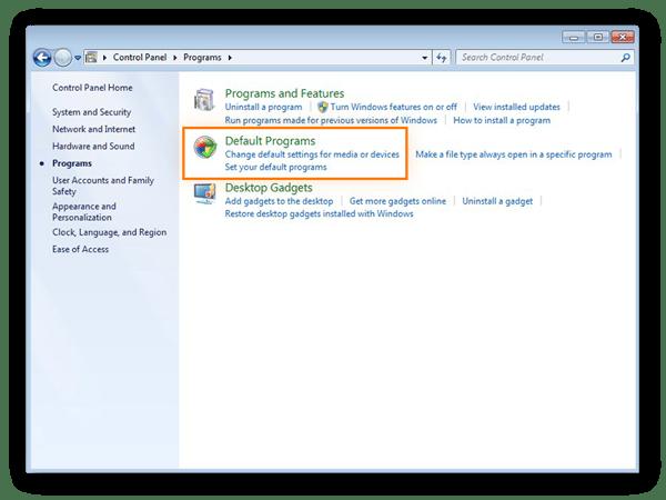 Accès aux paramètres des programmes par défaut dans le Panneau de configuration de Windows7