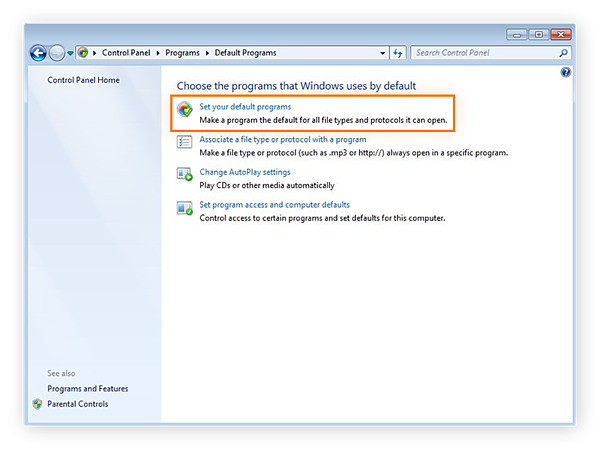 The Default Programs settings within the Control Panel of Windows 7