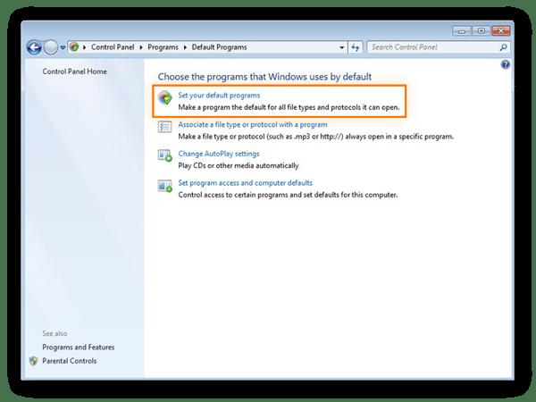 Paramètres des programmes par défaut dans le Panneau de configuration de Windows7