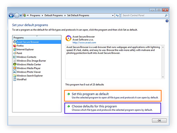 Setting Avast Secure Browser as the default web browser in Windows 7