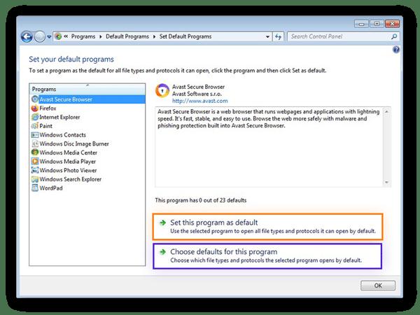 Configuration d'AvastSecureBrowser comme navigateur web par défaut dans Windows7