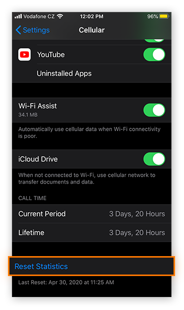 Resetting mobile data statistics in the Cellular settings in iOS 13.5.1