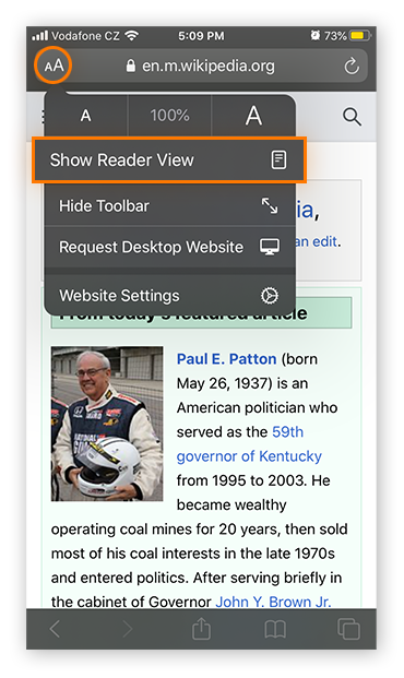 Switching to Reader Mode in Safari on iOS 13.4.1