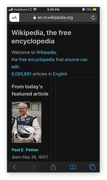 Wikipedia as seen in Reader Mode on Safari for iOS 13.4.1