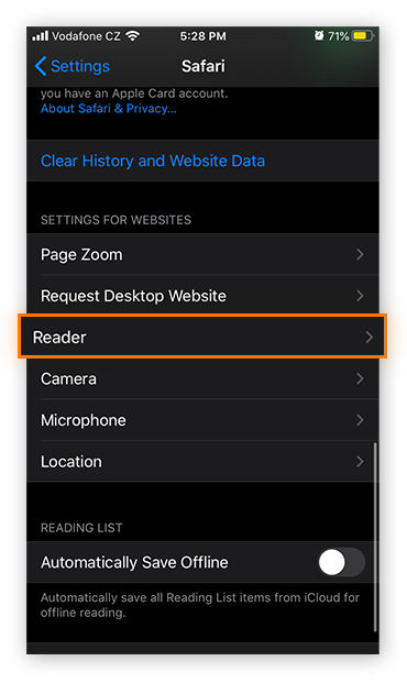 Opening the Reader Mode settings for Safari on iOS 13.4.1