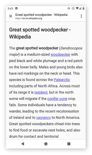 Viewing a simplified page in Reader Mode in Chrome on Android.