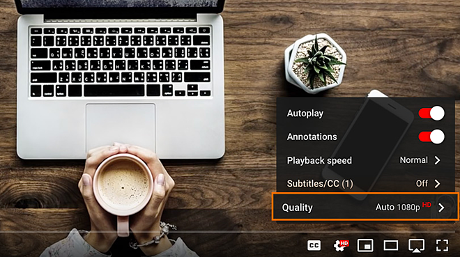 YouTube and other streaming services provide options for the quality of playback.