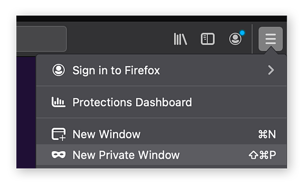 Opening a private browsing window in Mozilla Firefox.