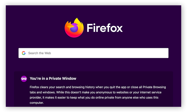 The start page for Mozilla Firefox's private browsing mode.
