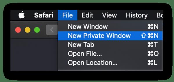 Abrir uma janela de navegação privada no Safari.