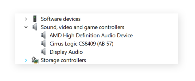 Device Manager showing audio drivers