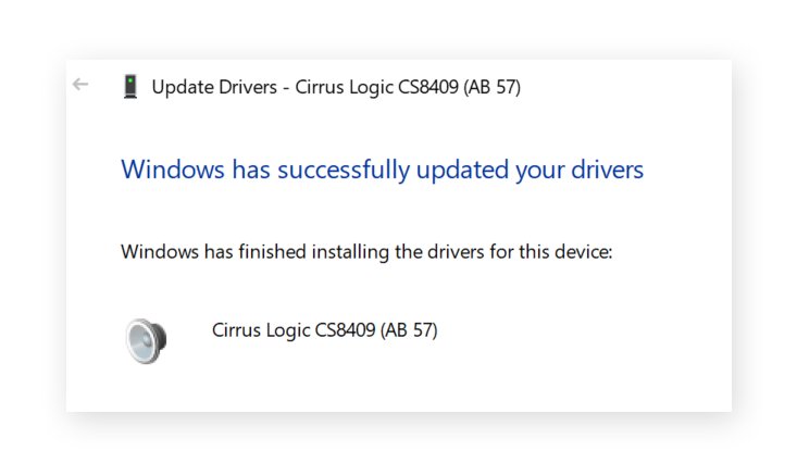 Successful driver update