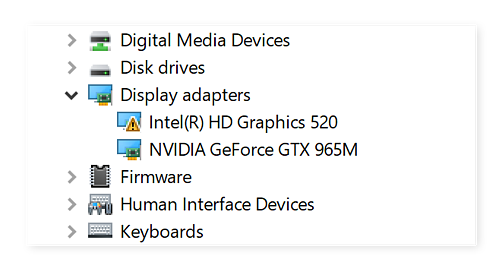 Device Manager showing problems with the graphics card