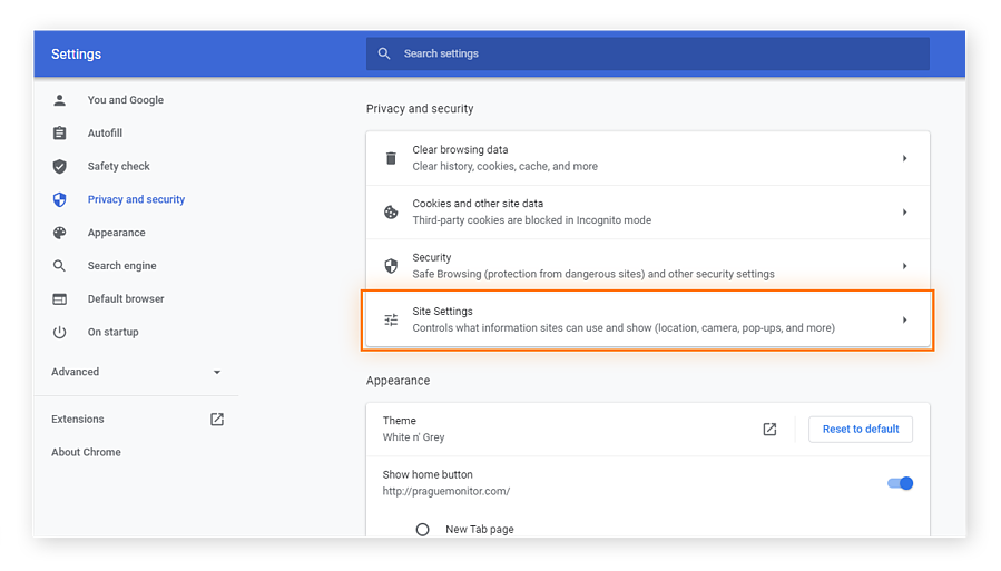 Site settings is the next step to block pop ups in Chrome