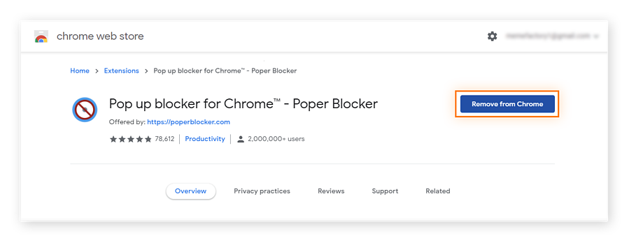 You can also remove a pop up blocker extension for Chrome from the product page in the Chrome Store