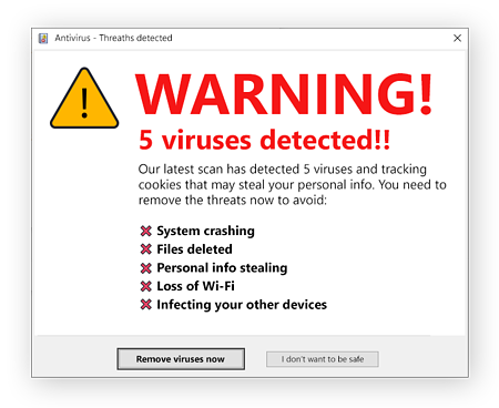 Scareware tries to trick you with fake warnings about viruses.
