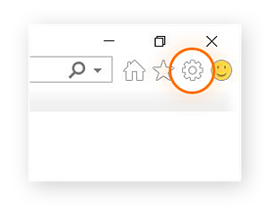 Screenshot of the upper-right corner of the Internet Explorer browser, with the Tools icon highlighted