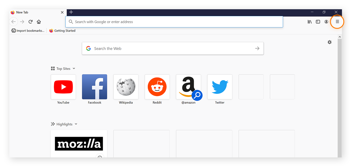 New Mozilla Firefox browser window with menu of three stacked lines in upper-right hand corner highlighted.
