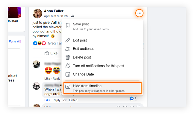 "To hide a post from your timeline, select the three-dot icon at the right side of the post, and then select ""hide from timeline"" from the dropdown menu."
