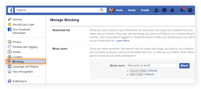 "You can customize your contact with certain Facebook groups or users from the ""Blocking"" section of your ""General Account Settings"" page. The search bar feature under the ""block users"" section allows you to find and cut contact with particular profiles."