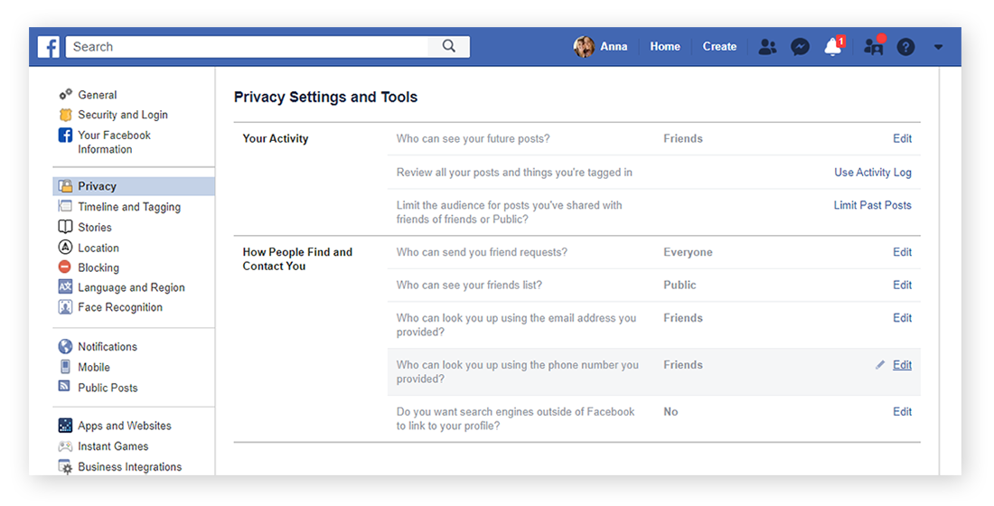 "From your ""General Account Settings"" screen, you can navigate to the ""Privacy"" option on the left in order to view and change your current Facebook account settings."