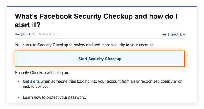 The Facebook Security Checkup tool will review your settings to make sure they're optimal.