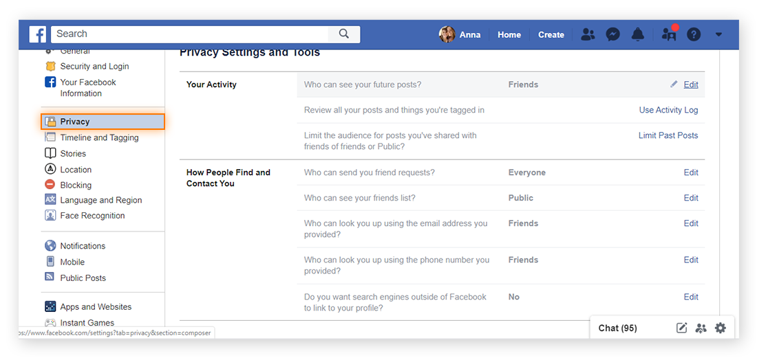 "Select the ""Privacy"" page from the left of your ""General Account Settings"" page in order to view and modify who can see your Facebook posts."