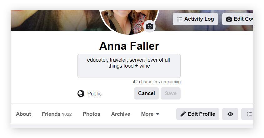 "Your Facebook ""bio"" is the short, customizable, snippet that appears just below your name."