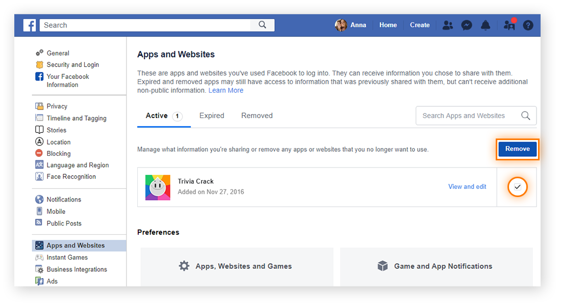"Revoke Facebook's access to connected apps and games from the ""Apps and Websites"" section of your ""General Account Settings"" pages."