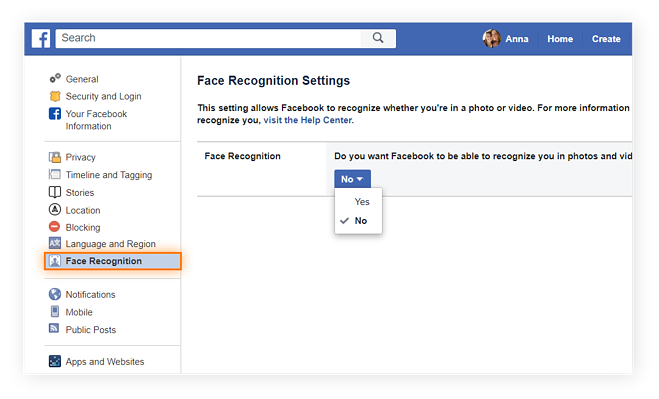 "The ""Face Recognition Settings"" section of your ""General Account Settings"" page lets you choose whether or not Face Recognition can find you elsewhere on Facebook."