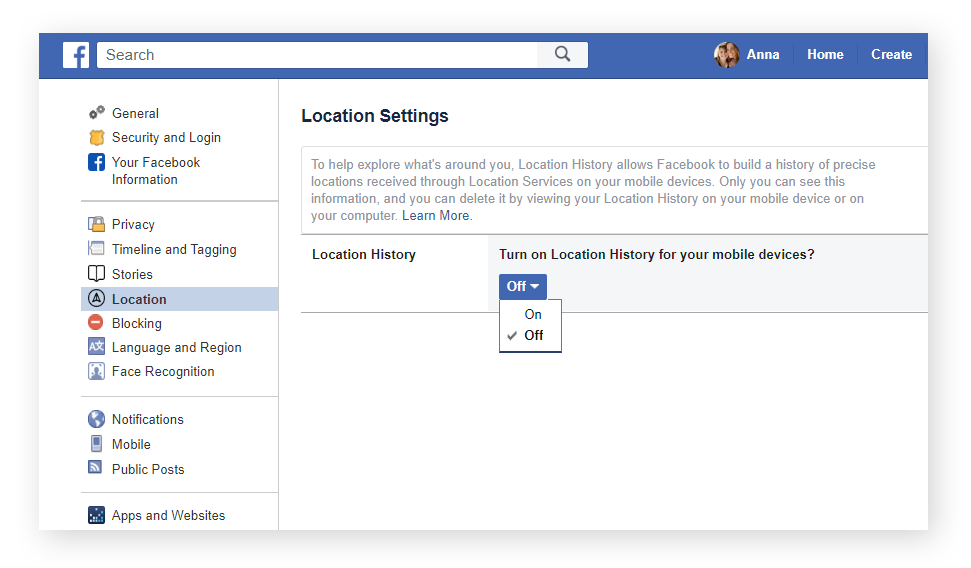 "You can turn your ""Location History"" on and off from the ""Location"" section of your ""General Account Settings"" page. Simply make your selection from the dropdown menu."