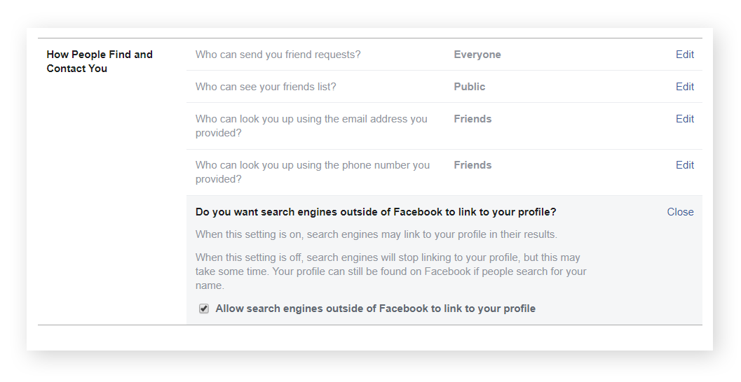"Pull your Facebook profile from Google results and other search engines from the ""How People Find and Contact You"" section of your ""Privacy"" page. Simply scroll all the way down to the search engine section and un-check the box labeled ""allow."""
