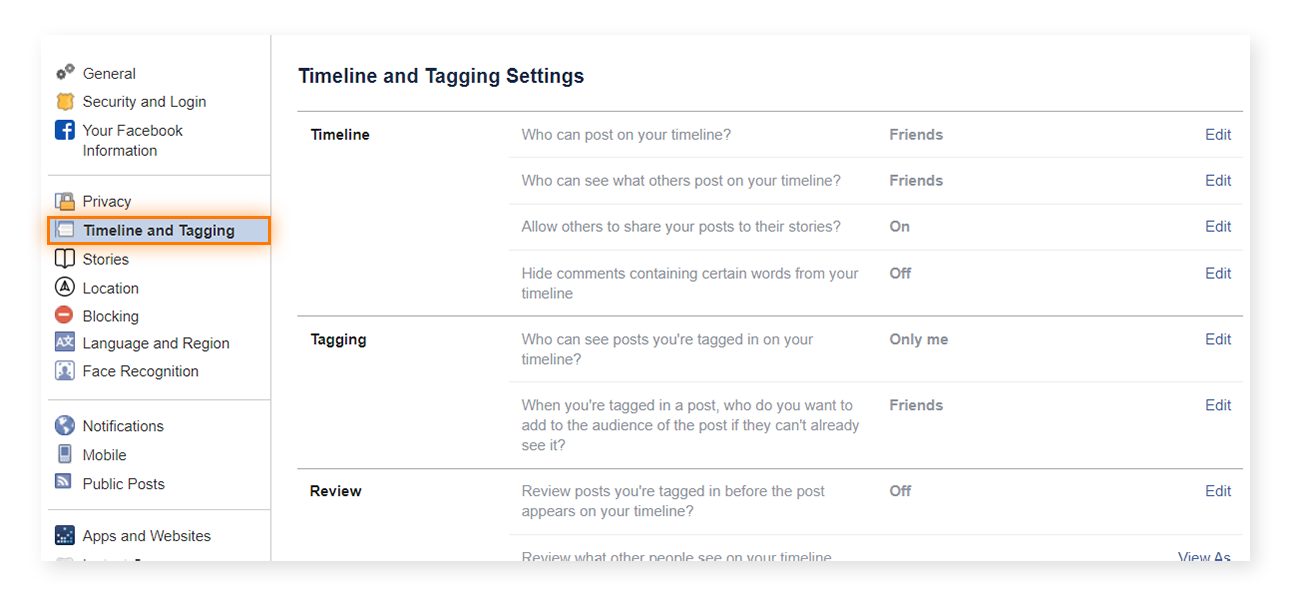 "Your ""Timeline and Tagging"" settings can be accessed from the top left of your ""General Account Settings"" page."