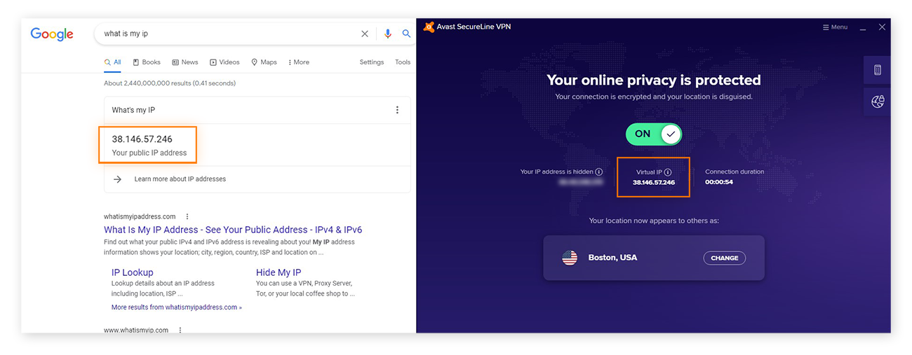 Checking your virtual IP address in Avast SecureLine VPN against your public IP address in a Google search