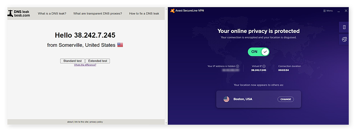 Testing your virtual IP address and DNS protection with Avast SecureLine VPN on DNSLeakTest