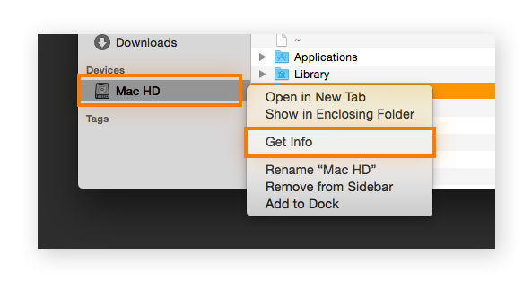 A hard drive selected in Mac OS's finder app.