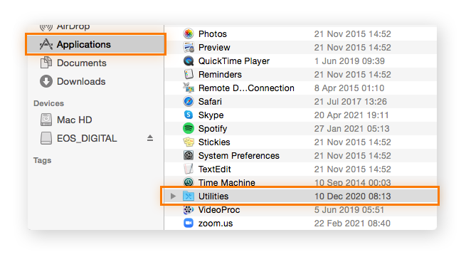 List of applications from macOS Finder window.
