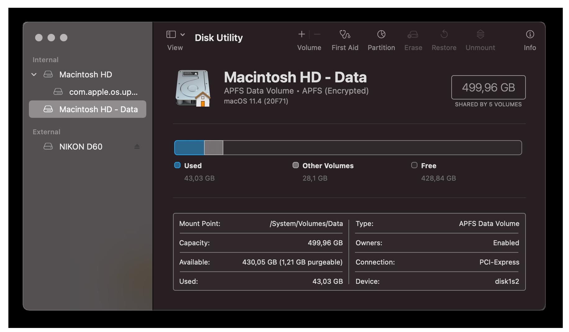 Checking storage on Mac through Disk Utility.