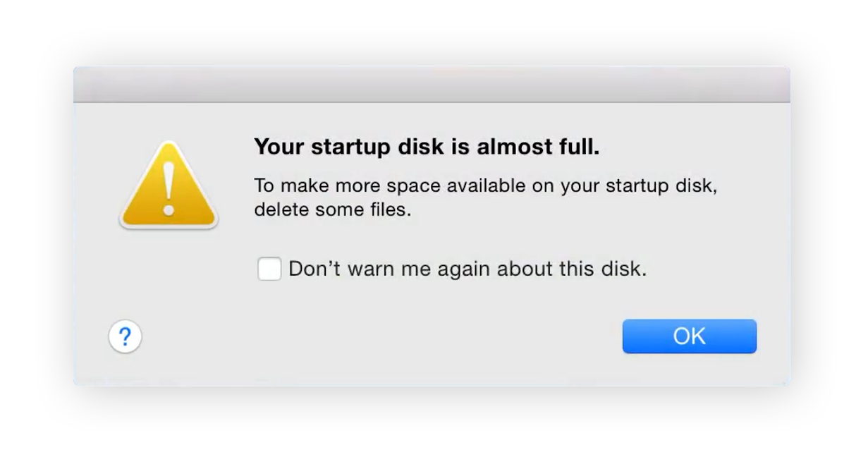 MacOS startup disk full