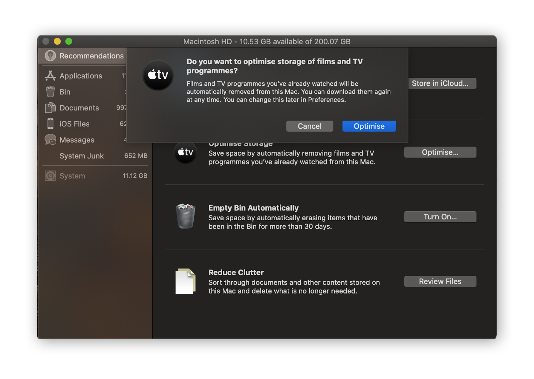 Get some space back by optimizing the storage of TV shows and films.