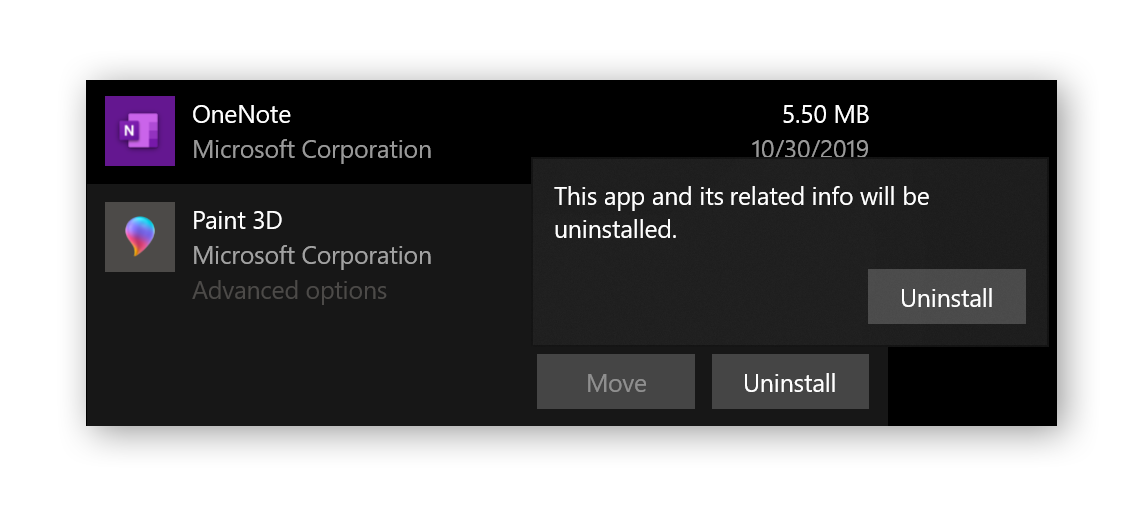 Removing apps in Windows 10