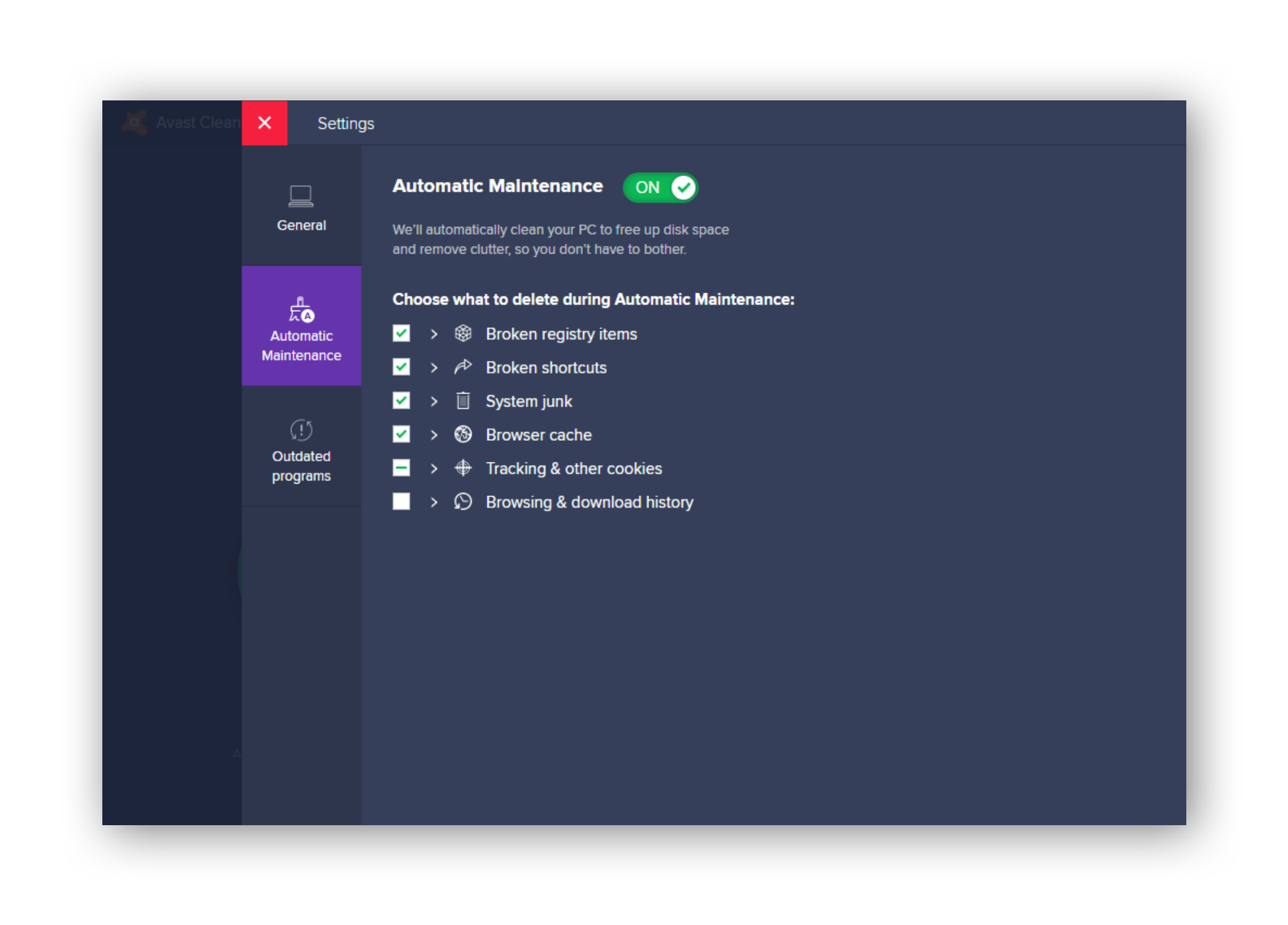 Using Automatic Maintenance in Avast Cleanup.