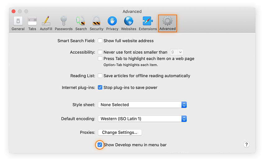 Under the Advanced settings, you can select the box to show the Develop menu bar.