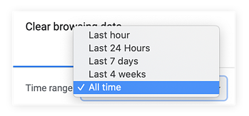 "Selecting the amount of time you want to clear your cache from. We recommend ""all time."""