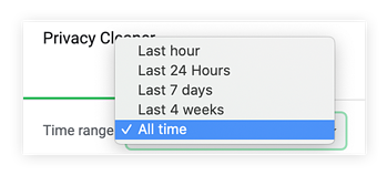 "Select the time range for cleaning your cache. We recommend ""all time."""
