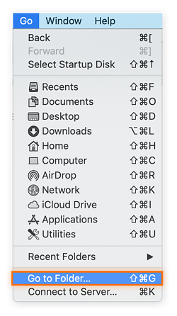 Opening the Go menu in Finder.