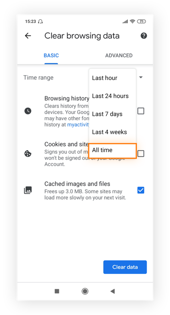 """Highlighting """"All time"""" in the time range menu in Chrome's Clear browsing data screen"""