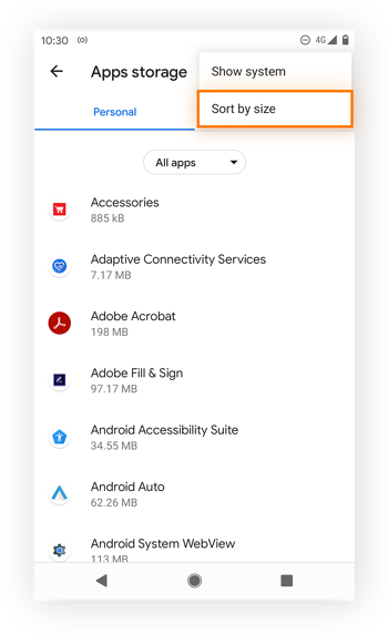 Sorting apps by size to see which take up the most storage space in Android 11.