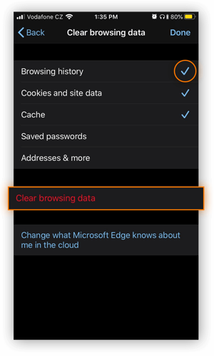 Clearing browsing data in Microsoft Edge for iOS